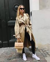 coat,trench coat,oversized coat,white sneakers,converse,black skinny jeans,chanel bag,jeans,long coat,black sunglasses