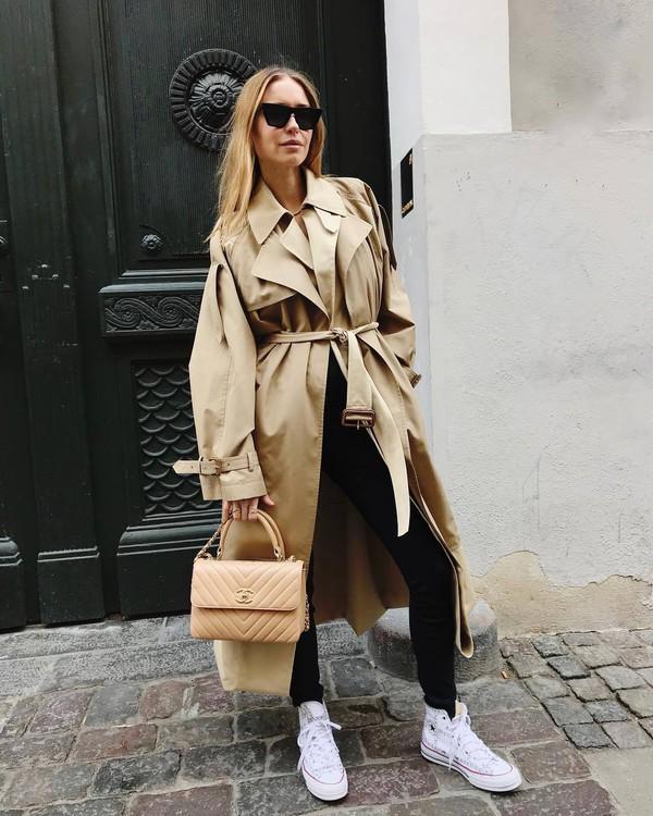 coat trench coat oversized coat white sneakers converse black skinny jeans chanel bag jeans long coat black sunglasses