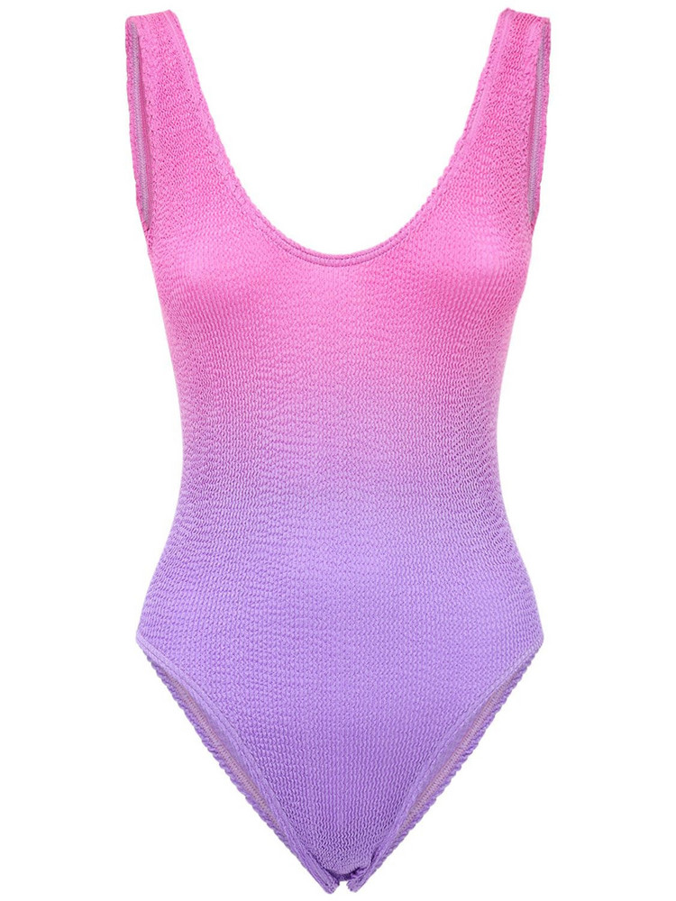 BOND EYE The Mara Seersucker One Piece Swimsuit in pink / lilac
