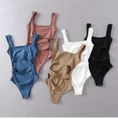 swimwear,blue,white,black,tan,girly,girly wishlist,one piece swimsuit,one piece,cut-out,bodysuit,romper,cute