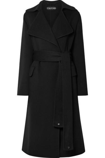 TOM FORD - Belted Leather-trimmed Cashmere Coat - Black