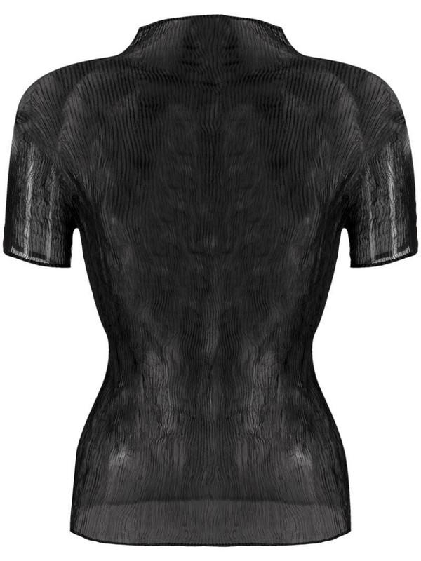 Issey Miyake pleated sheer top in black