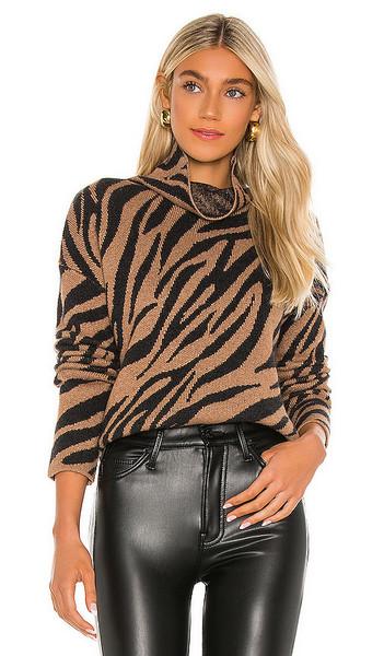 Pam & Gela Zebra Funnel Neck Sweater in Brown in camel
