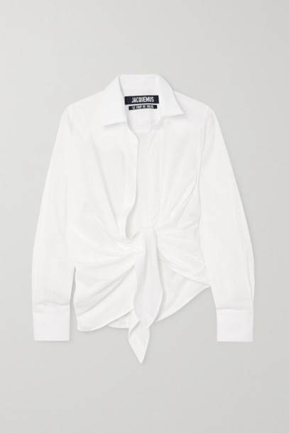 Jacquemus - Bahia Tie-front Striped Cotton-jacquard Shirt - White