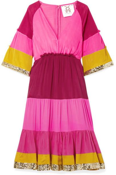 Figue - Fiona Sequin-embellished Striped Silk-satin Dress - Pink