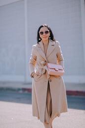 hallie daily,blogger,coat,sweater,dress,bag,shoes,jewels,sunglasses