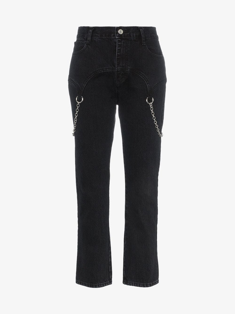 Sandy Liang Marks chain embellished straight jeans in black