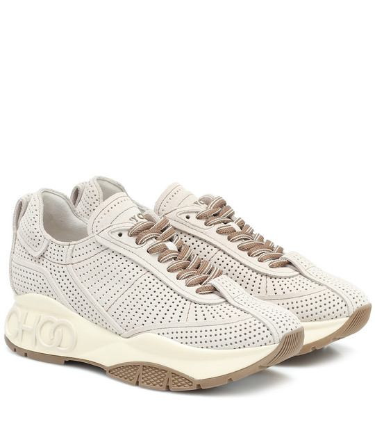 Jimmy Choo Raine perforated suede sneakers in grey