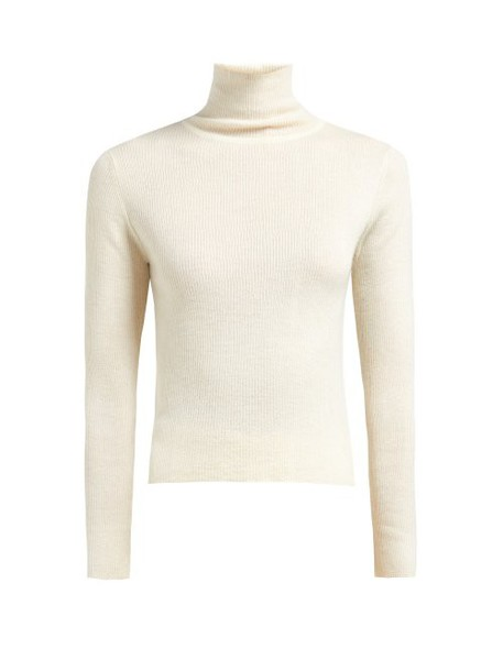 Ryan Roche - High Neck Ribbed Knit Cashmere Sweater - Womens - White