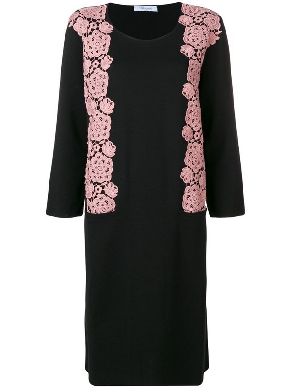 Blumarine floral embroidery sweater dress in black