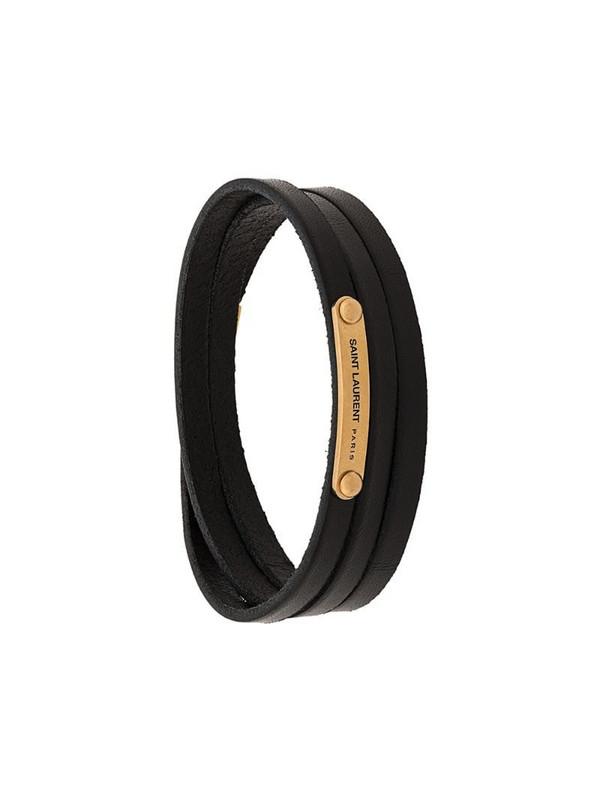 Saint Laurent ID narrow wraparound bracelet in black