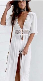 dress,boho,kimono,white,beach,beach dress,cover up