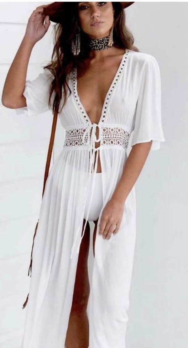 dress boho kimono white beach beach dress cover up