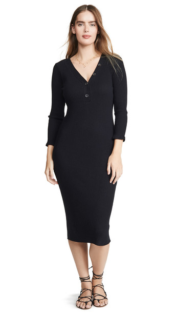 Enza Costa Poorboy Rib Henley Midi Dress in black