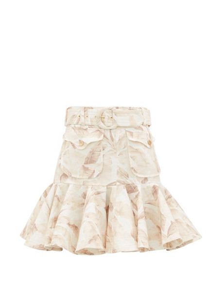 Zimmermann - Super Eight Ruffled Leaf-print Linen Skirt - Womens - Cream Print