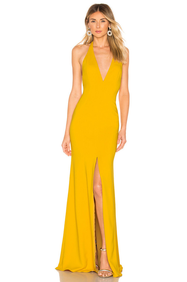 Jay Godfrey Lena Gown in mustard
