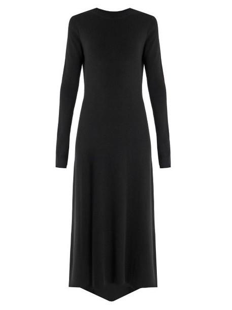 Raey - Fishtail Ribbed Cashmere Dress - Womens - Black