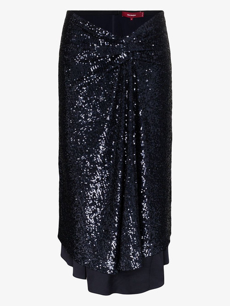 Sies Marjan Kayla sequinned asymmetric midi skirt in blue