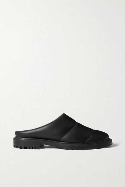 STAUD - Astro Quilted Faux Shearling Mules - Black