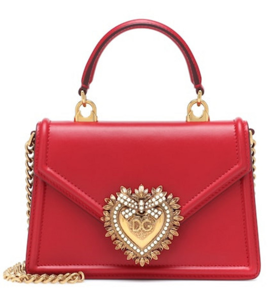 Dolce & Gabbana Small Devotion leather shoulder bag in red