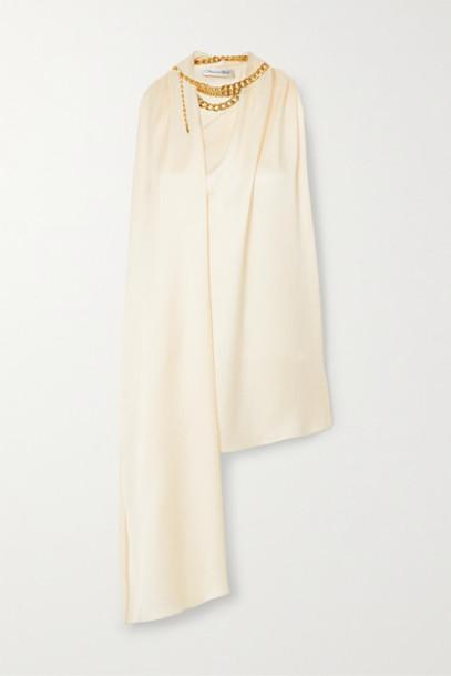Oscar de la Renta - Chain-embellished Draped Satin-crepe Top - Cream