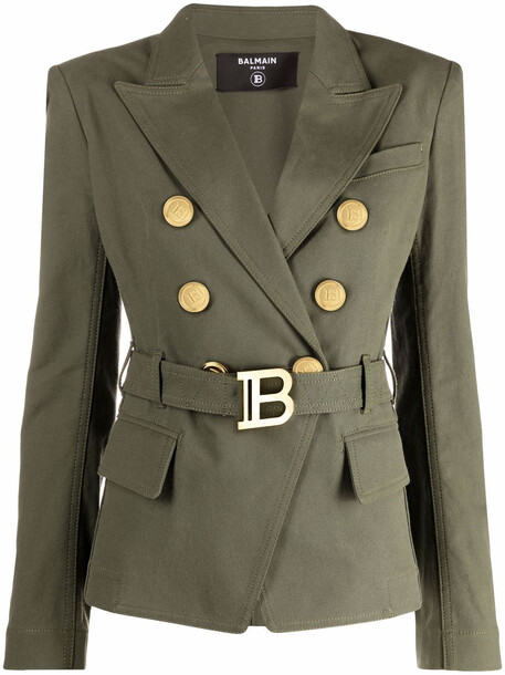 Balmain belted double-breasted blazer - Green