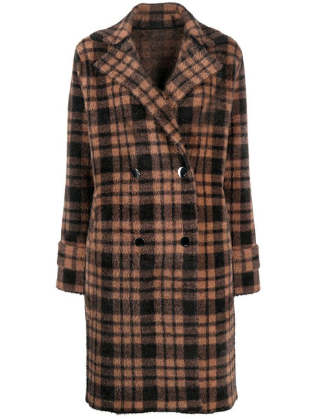 Pinko double breasted plaid coat in brown