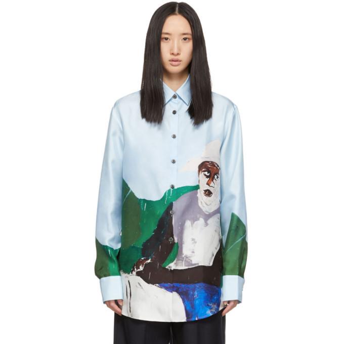 Études Études Blue Silk Mountain Horse Shirt
