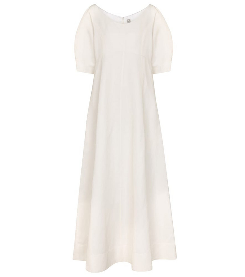 Toteme Exclusive to Mytheresa – Linen and cotton-blend midi dress in white