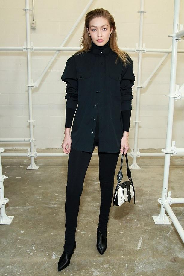 bag black gigi hadid model off-duty pants shirt celebrity