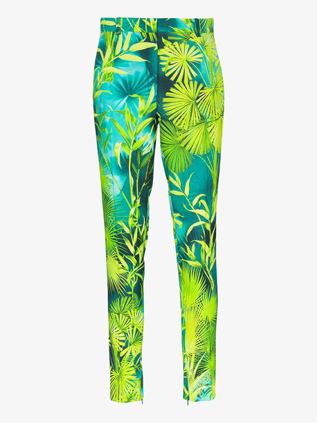 Versace Palm print slim fit trousers