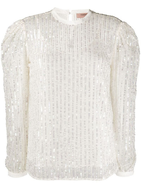 Twin-Set embroidered long-sleeve blouse in white
