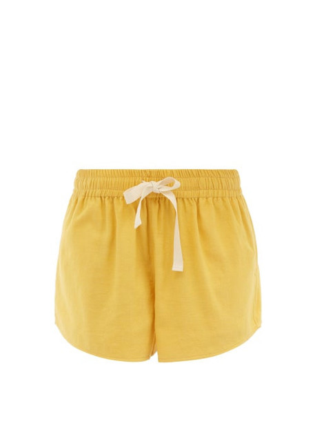 Marrakshi Life - High-rise Cotton-canvas Shorts - Womens - Yellow