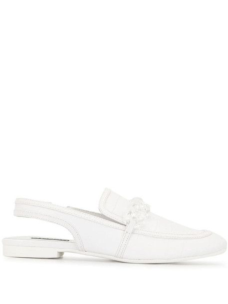 Senso slingback chain-link loafers in white