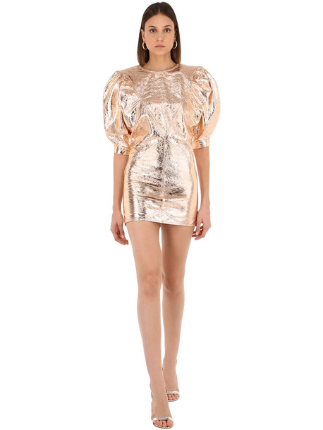 ISABEL MARANT Nadela Metallic Leather Mini Dress in gold / rose