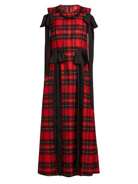 Simone Rocha - Beaded And Bow Trim Tartan Georgette Dress - Womens - Red