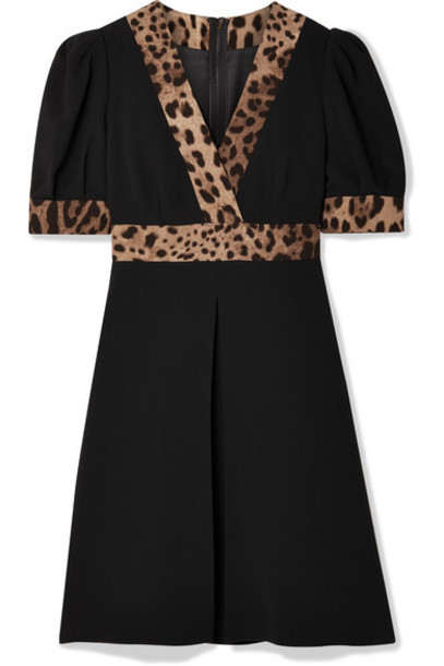 Dolce & Gabbana - Wrap-effect Leopard Print-trimmed Crepe Mini Dress - Black