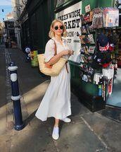 skirt,white skirt,midi skirt,h&m,white sneakers,shoulder bag,white shirt