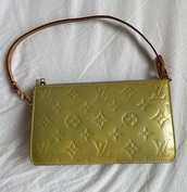 bag,green,louis vuitton,vintage,clutch,brown,gold