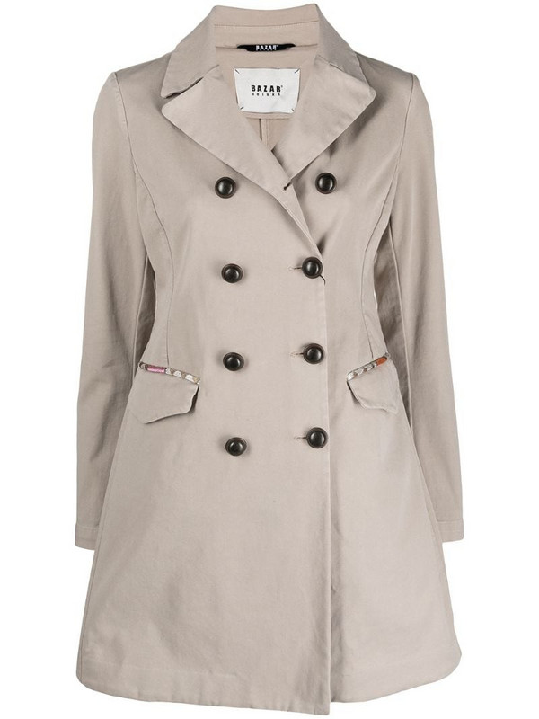 Bazar Deluxe double-breasted trench coat in neutrals