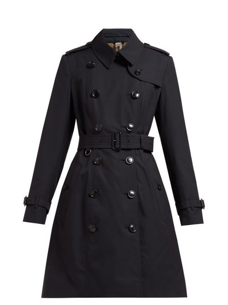 Burberry - Chelsea Double Breasted Cotton Trench Coat - Womens - Navy