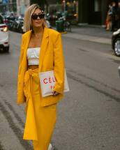 jacket,blazer,max mara,double breasted,yellow skirt,midi skirt,white bag,celine,white top,crop tops