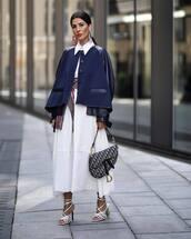 bag,dior bag,white sandals,maxi dress,white dress,shirt dress,scarf,jacket
