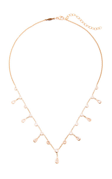 Jacquie Aiche 14K Rose Gold Diamond Teardrop Shaker Necklace