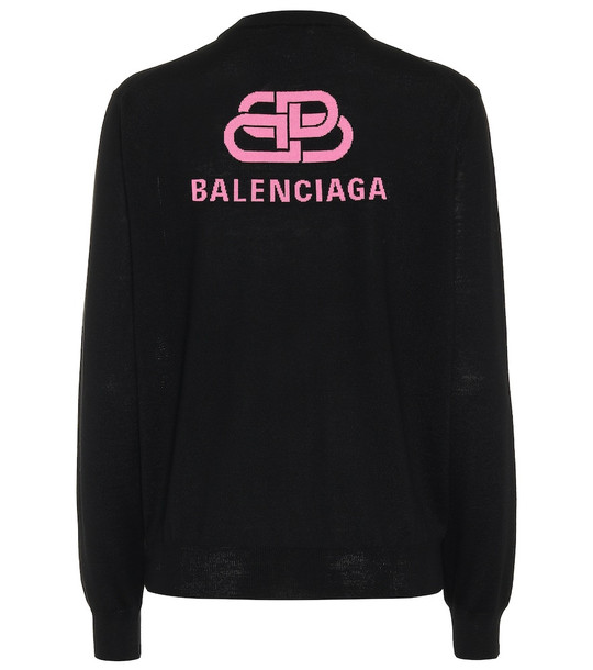 Balenciaga Logo wool sweater in black