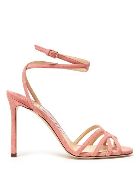 Jimmy Choo - Mimi 100 Wrap Around Suede Sandals - Womens - Pink