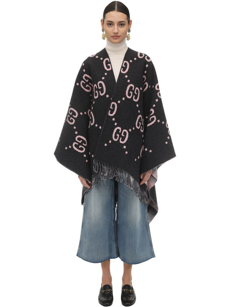 GUCCI Gg Embroidered Wool Poncho in grey / pink