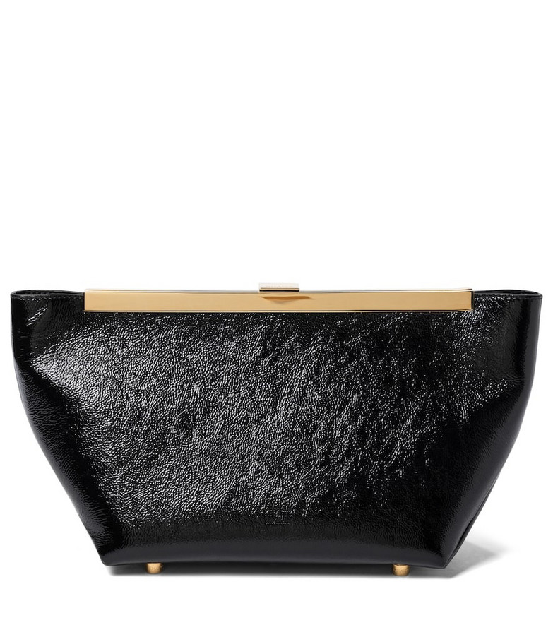 Khaite Aimee patent leather clutch in black