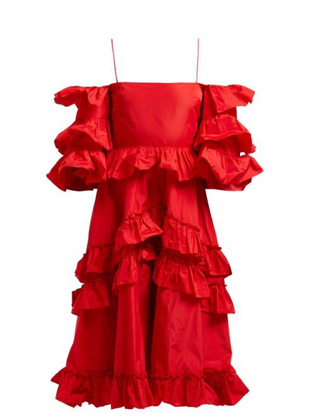 Alexachung - Tiered Ruffle Off The Shoulder Midi Dress - Womens - Red