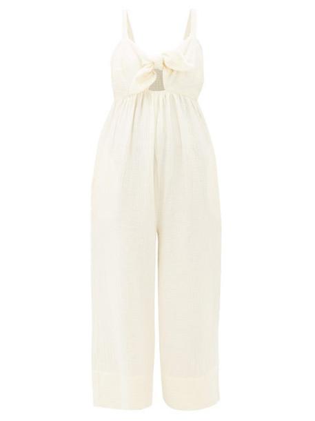 Loup Charmant - Triton Tie Front Crinkle Cotton Jumpsuit - Womens - Cream